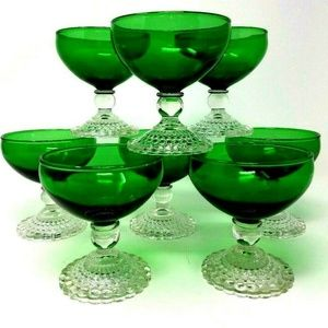 8 Antique Green Parfait Dessert Stemmed Glasses *
